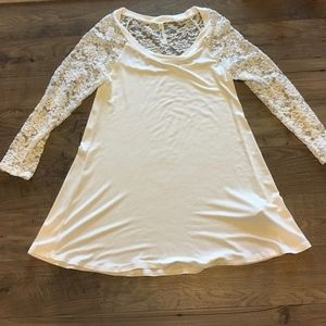 Emerald Lace Sleeves Tunic Top Ivory Womens Small